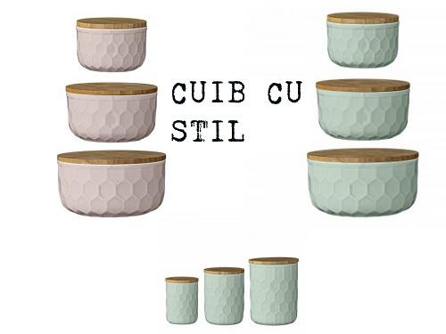 recipiente ceramica cu capac bambus