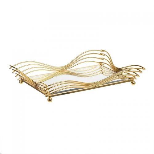 Tava-decorativa-cu oglindă și margini în valuri aurii